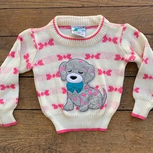 Vintage 80s Kids Dog Sweater